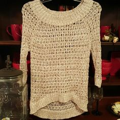 Mudd  Oatmeal crochet sweater Cute & comfy, oatmeal color crochet sweater. Three quarters sleeves. Looks like a snack on the first and second pic that throughout the sweater some of the holes are bigger than others. In great used condition! Mudd Sweaters Crew & Scoop Necks