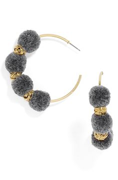 These are women's gray hoop earrings from Baublebar, jewelry to ornament the ear; usually clipped to the earlobe or fastened through a hole in the lobe. Nordstrom Half Yearly Sale, Crochet Earrings, Jewelry Making, Beaded Bracelets, Hoop Earrings, Jewels, Knitting, Early Fall, Sewing