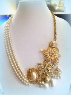 Pearl Vintage Assemblage Brooch Necklace