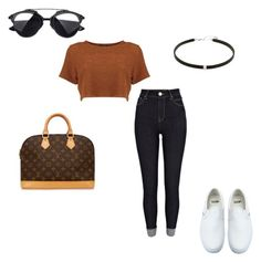 """""""Untitled #3860"""" by yourmajestyjordine ❤ liked on Polyvore featuring River Island, Louis Vuitton and Vans"""