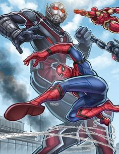#Spiderman #Fan #Art. (Team Iron Man Vs. Giant Man - Civil War) By: Kpetchock. ÅWESOMENESS!!!™ ÅÅÅ+