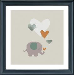 cross stitch pattern elephant with hearts modern by Happinesst