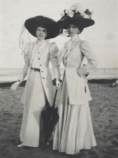 This photo was taken by photographer Baron Adolph de Meyer had two women standing by the beach. The dresses they wear are not fussy, not to bulky and easy to operate better. costumes for their picnic designed more monotonous.