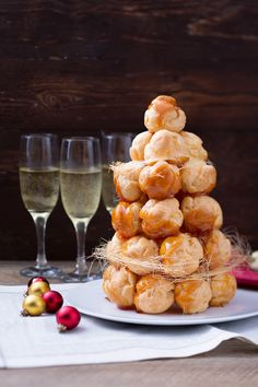 Croquembouche, came from France and is made for special occasion ,by Antonella Rossi Croquembouche, Profiterole Tower, Snack Recipes, Cooking Recipes, Profiteroles, Beautiful Desserts, Holiday Baking, International Recipes, Finger Foods