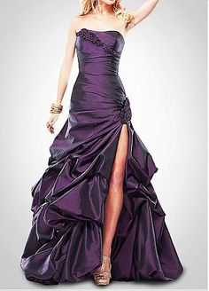Elegant  Taffeta Ball Gown Strapless Prom Dress With Slit
