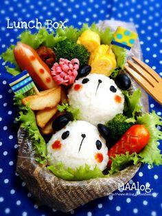 Panda bears bento. Cute!