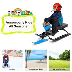 Kids Snow Sand Grass Sled w/ Steering Wheel and Brakes $59.95 + Free Shipping This is the snow racer sled which will allow you to get thrills and revitalization from the nature!