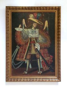 Onbekend (late XIX cent) - Cuzco school (volgeling van de 'Meester van Calamarca') - 'Aartsengel met haakbus'  Onbekende schilder uit de school van Cuzco 'Aartsengel met haakbus' olieverf op doek vastgesteld op dik karton.De iconografie is geïnspireerd op soortgelijke schilderijen door actief in eind XVIII cent 'meester van Calamarca'.Engelen met haakbus (een soort pistool) werden geproduceerd uit de laat-17e eeuw tot de negentiende eeuw in de Onderkoninkrijk van Peru' een Spaanse koloniale…