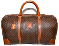 1878014337ad Céline Macadam Paris Carry On Overnight Brown Leather   Coated Canvas  Weekend Travel Bag 89% off retail
