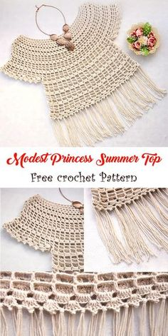 What an easy yet amazing summer top to try this year free crochet pattern linked crochet summer pattern freepattern crochetpattern Col Crochet, Gilet Crochet, Crochet Girls, Crochet Blouse, Crochet For Kids, Easy Crochet, Crochet Stitches, Crochet Hats, Filet Crochet Charts