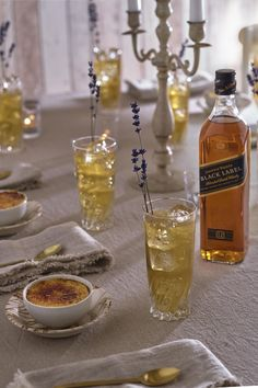 The Johnnie Walker Long Violet taps into the boho trend with a delicate touch of lavender. For an idyllic post-dinner pairing, serve with a lavender infused mini creme brulee and place on a minimal & neutral tablescape.  Follow link for recipe & method. #Ad #BohoWedding #CremeBrulee #WeddingTrend2019 #MinimalistWedding #WeddingIdeas #WeddingInspiration #CocktailsAndDessert #WeddingCocktail #AfterDinnerDrink #AfterDinnerCocktail #WhiskyCocktail #LongVioletCocktail #DessertCocktail After Dinner Cocktails, Cocktail Desserts, Cocktail Recipes, Wedding Trends, Boho Wedding, Lavender Cocktail, Rachel Khoo, Paris Kitchen