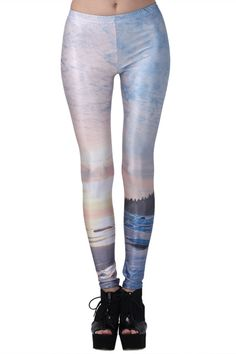 """""""Snowy Sunshine Scenary"""" Leggings. Description Leggings, have been crafted from elastic fabric design, featuring brief styling with snowy sunshine scenary print look design, a stretchy waist and all in a soft-touch stretch finish. Fabric Dacron and Spandex. Washing 40 degree machine wash , low iron. #Romwe"""