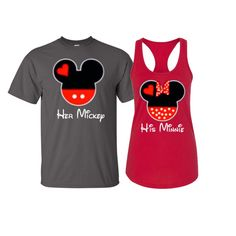 Minnie and Mickey inspired shirts Her Mickey His by JSAPPARELLB