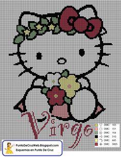 Punto De Cruz Horoscopo Hello Kitty Virgo. www.puntodecruzweb.blogspot.com