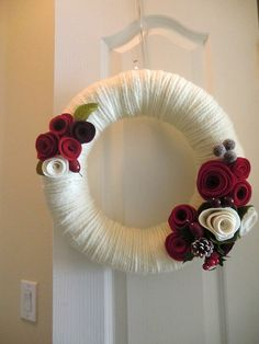Classic Christmas Yarn Wreath Red Felt Roses by saffronfields