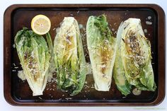 Grilled Romaine Hearts with Caesar Vinaigrette