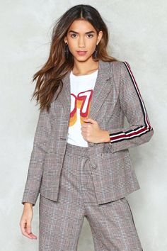 Nasty Gal nastygal Stripe It From the Record Check Blazer Checked Blazer, Check Printing, Stripes Design, Nasty Gal, Plaid, Sleeves, Jackets, Clothes, Shopping