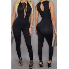 Sexy V Neck Sleeveless Front Lace-up Solid Black Polyester One-piece Skinny Jumpsuit