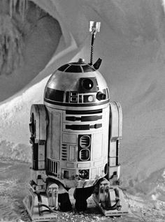 From The Empire Strikes Back--Artoo waits in an ice cave with Kenny Baker's feet clearly visible.