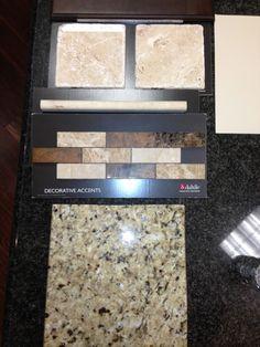 Kitchen backsplash tiles, New Venetian Gold countertops