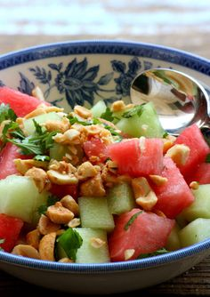 Thai Melon Salad, Citrus Salad with Rosewater, and Crunchy Coconut-Berry Salad
