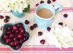 Petals and Joe. Sweet as a cherry. coffee, flowers