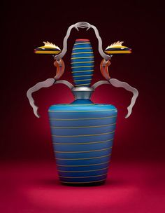 Glass, Dan Dailey, Artist, Aqualibrium, Circus Vase, 2011 Blown glass, sandblasted and acid polished. Anodized aluminum, 16.5 x 10.5 x 7 in. Photo, Bill Truslow