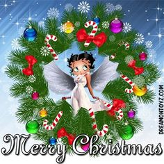 Holiday Hello - Angel Betty Boop with an evergreen wreath with candy canes and Christmas ornaments Merry Christmas Gif, Christmas Pictures, Christmas Art, Christmas Greetings, Christmas Ornaments, Christmas Parties, Christmas 2019, Black Betty Boop, Betty Boop Cartoon