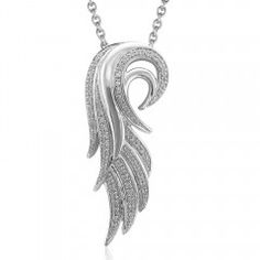 Diamond Angel Feather Necklace 1/5 Carat