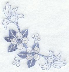 Out-of-the-Blue Flower Corner design (C7147) from www.Emblibrary.com