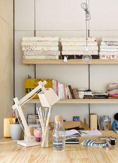 love the simple wooden shelving & lamp - Remedy Garden Studio via The Design Files Office Nook, Home Office Decor, Workspace Inspiration, Interior Design Inspiration, Room Maker, Dream Desk, Bookcase Shelves, The Design Files, Interior Photography