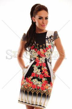 Vibrant Keys White Dress, prints may vary, short sleeves, with pockets, slightly elastic fabric Female Bodies, Keys, Peplum Dress, White Dress, Short Sleeves, Vibrant, Hot, Skirts, Fabric