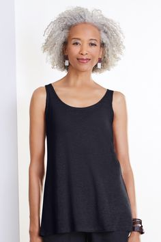 Knit Tank - Crafted in a lightly slubbed linen-blend knit, this elegant, semi-sheer tank lends itself readily to creative layering. V Shape Cut, Spring Outfits, Fashion Outfits, Lisa, Tank Tops, Knitting, Elegant, Layering, Unique