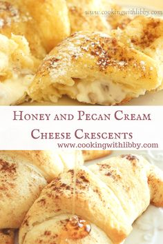 These Honey and Pecan Cream Cheese Crescents only have five ingredients so they can be whipped up in less then 30 minutes. cheese desserts for cream cheese for two cream cheese Brunch Recipes, Sweet Recipes, Breakfast Recipes, Dessert Recipes, Trifle Desserts, Breakfast Time, Scones, Cream Cheese Crescent Rolls, Cream Cheese Recipes