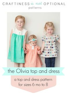 Olivia top and dress PDF pattern by CINOshop on Etsy Sewing For Kids, Baby Sewing, Sewing Clothes, Diy Clothes, Dress Sewing, Clothing Patterns, Sewing Patterns, Little Doll, Learn To Sew