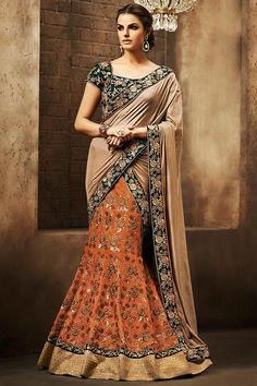 Orange Bottle Green and Beige Bhagalpuri Heavy Embroidered Bridal Lehenga Saree