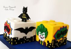 Birthday cake for a little boy who loves Legos AND Batman, featuring Batman and Joker. Lego Batman Birthday Cake, Lego Movie Cake, Lego Batman Cakes, Lego Batman Party, Movie Cakes, 4th Birthday Cakes, Lego Cake, Lego Superhero Cake, Cake Minion