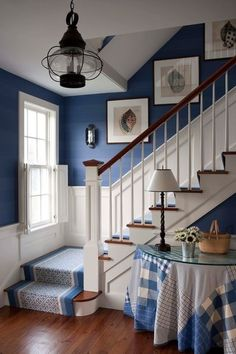 Traditional Stair Idea                                  love the blue and white, love the patchwork tablecloth, love it all!