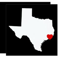 Black and White Texas Red Heart Wedding Card
