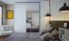 Quarto de casal com guarda-roupa com espelho e decoração moderna. Clique na imagem para saber mais.