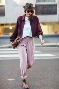 Blush pink + purplish burgundy + white + cognac.