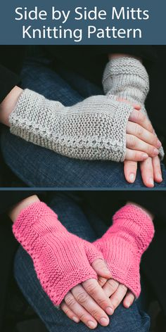 One Skein Fingerless Mitts Knitting Patterns - In the Loop Knitting Beginner Knitting Patterns, Baby Sweater Knitting Pattern, Christmas Knitting Patterns, Mittens Pattern, Knitting Ideas, Knitting Projects, Easy Knitting, Crochet Necklace Pattern, Fingerless Gloves Knitted