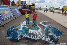 street painting gallery - Street Painting and Anamorphic Art by Chalk Artist Cuboliquido 3d Street Painting, 3d Street Art, Chalk Festival, Art Festival, Tivoli Park, Chalk Artist, Venice Florida, Anamorphic, Save The Children