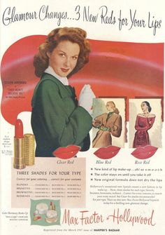Vintage Beauty Ads | Ladylike Lady - Max Factor lipstick ad, featuring Susan Hayward,...