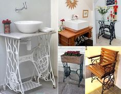5 Ideas to Decorate with Old Sewing Machine Stands - http://www.amazinginteriordesign.com/5-ideas-decorate-old-sewing-machine-stands/