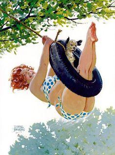 In de jaren vijftig was pin-up girl Hilda het helemaal. Ze had een lekker gevuld lijf, wasimmer goedgemutst, zeemde ijverig de ramen en kwam in de raarste situaties terecht. Wij zeggen: duizend keer leukerdan de dunne meisjes met de opgepompte borsten en lippen van nu. BEKIJK OOK Lijkt je eigenste kat ineens op Marilyn Monroe