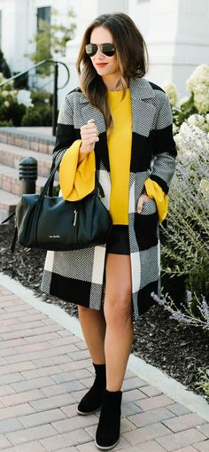#summer #outfits Yellow Bell Sleeve Top & Check Coat!