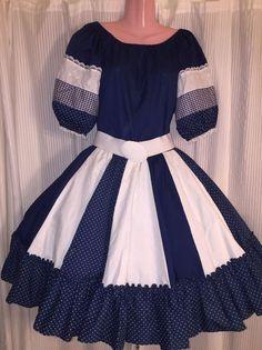 365695fbff8e Square Dance 2 PC Navy Blue & White Top & Skirt- Medium Dance Clothing,