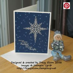 Christmas card created using the Star of Light Stamp Set and Starlight Thinlits Dies bundle from the Stampin' Up! 2016 Holiday Catalogue.  http://tracyelsom.stampinup.net