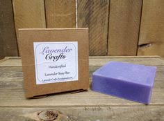 This is my gorgeous handmade Lavender scented soap. It is made in small batches using the cold process method of soap making. They are individually cut and then cured for 6 weeks to create the finished bar of soap.  #HandmadeInMyKitchen #ForTheLoveOfLavender #LavenderCraftsKilcoole #LavenderCrafts #HandmadeInKilcoole #AllNaturalIngredients #EcoFriendly #PalmOilFree